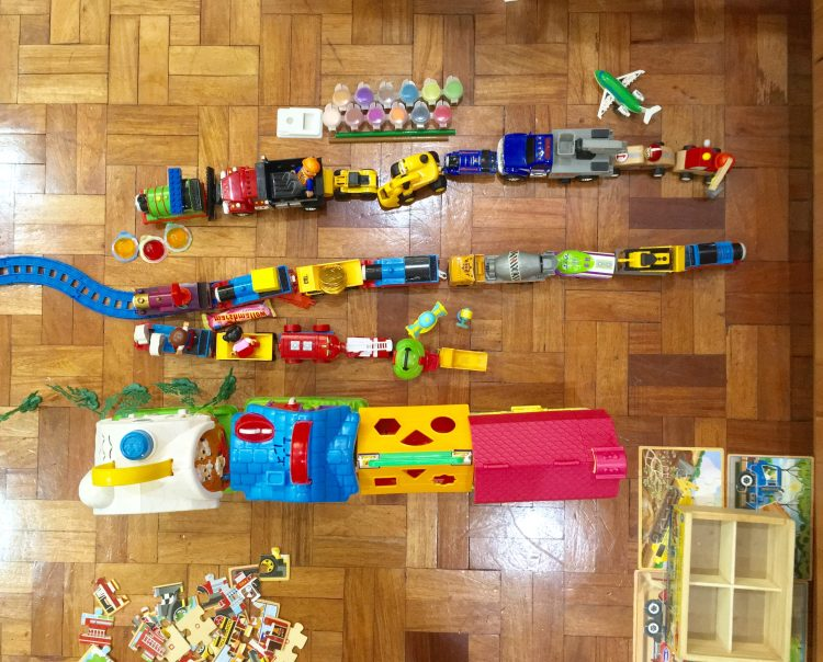 Photo of several toys lined up